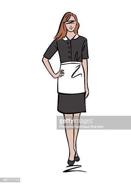illustration of female maid - uniform stock illustrations