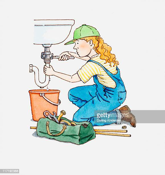 Illustration of female plumber fixing pipe on a sink