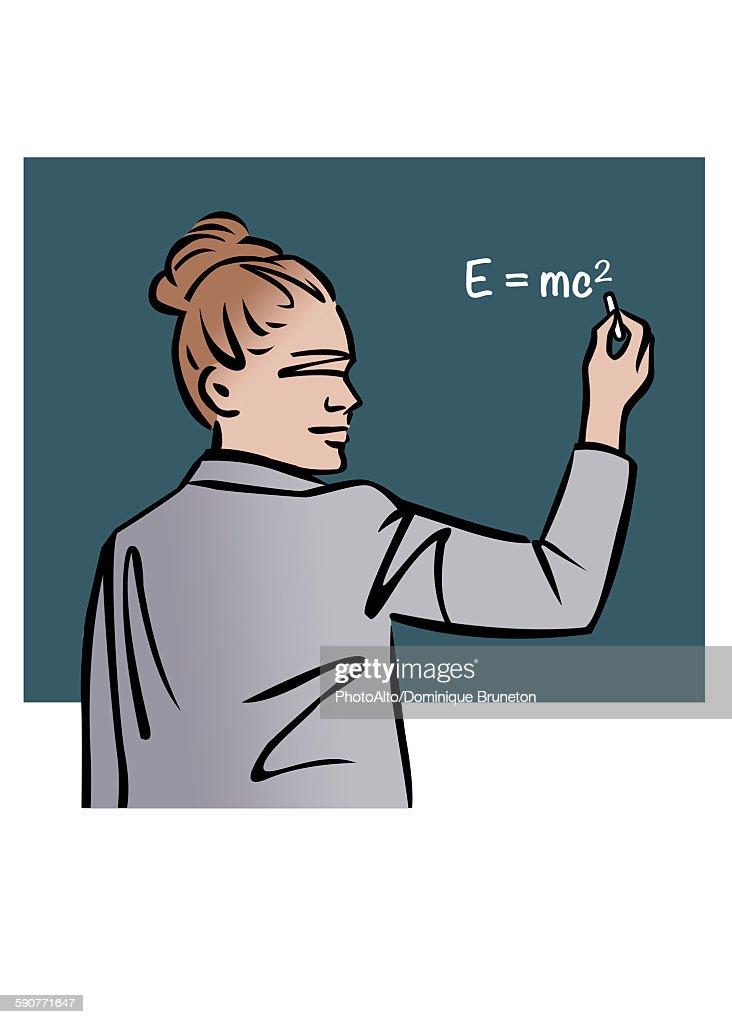 Illustration of female professor writing equation on chalkboard : stock illustration
