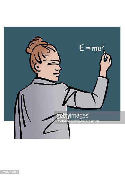 Illustration of female professor writing equation on chalkboard