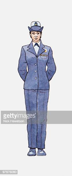 illustration of female sailor wearing us navy uniform - us navy stock illustrations, clip art, cartoons, & icons