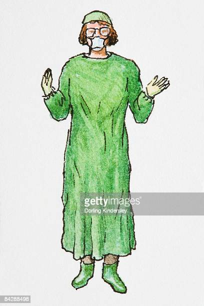 illustration of female surgeon wearing green operating gown, hat and boots, white surgical mask, and glasses - operating gown stock illustrations, clip art, cartoons, & icons