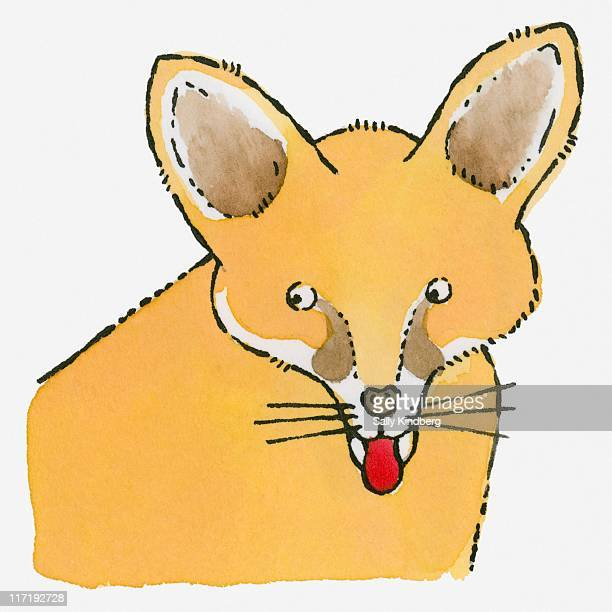 Illustration of Fennec Fox (Vulpes zerda) sticking red tongue out