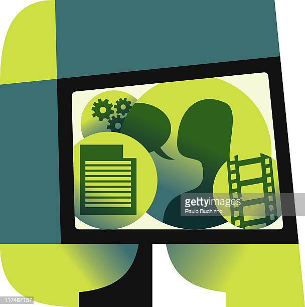 illustration of figures on a screen - video editing stock illustrations, clip art, cartoons, & icons