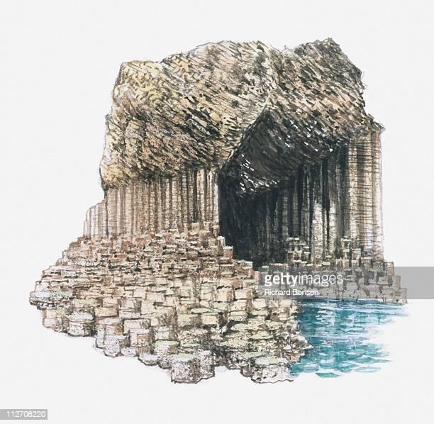 illustration of fingal's cave formed from basalt columns on island of staffa - basalt stock illustrations, clip art, cartoons, & icons