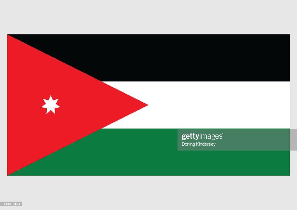 illustration of flag of jordan with three horizontal bands of black