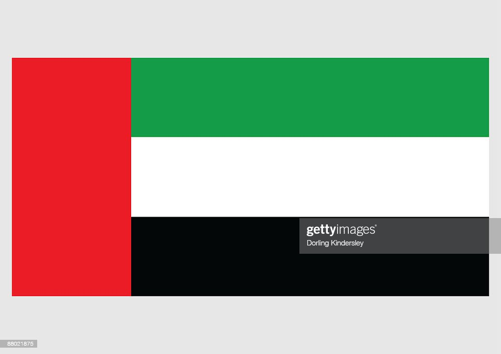 Illustration Of Flag Of United Arab Emirates With Vertical Red Band