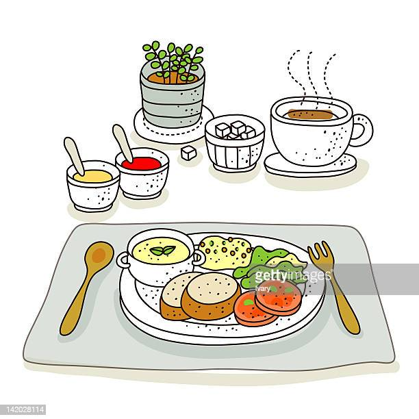 Illustration of food and coffee