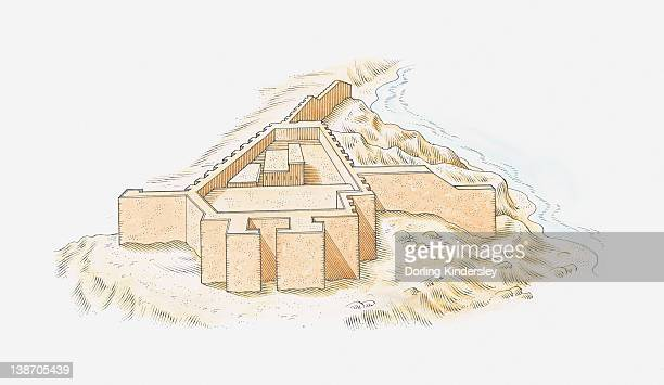 illustration of fortress at shalfak, middle nubia - nubia stock illustrations, clip art, cartoons, & icons