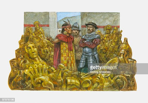 illustration of francisco pizarro standing next to inca emperor atahualpa in room full of gold - next stock illustrations
