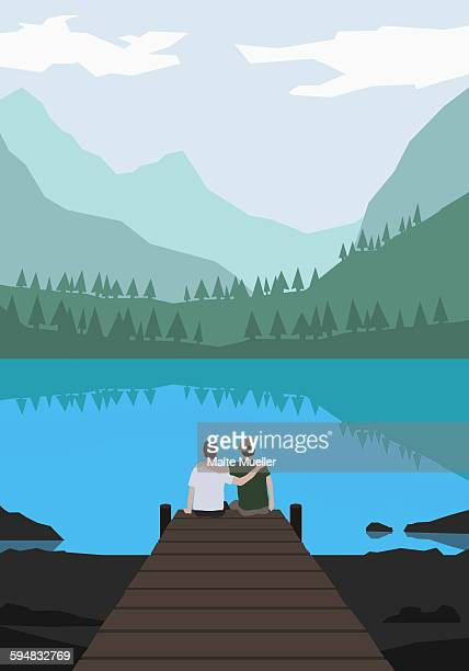 illustration of friends sitting on pier by lake against mountains - friendship stock illustrations