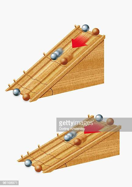 ilustrações de stock, clip art, desenhos animados e ícones de illustration of galileo's inclined-plane experiment, involving steep incline and shallow incline, sh - galileu galilei