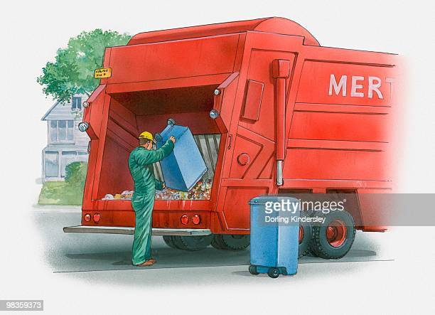 ilustrações de stock, clip art, desenhos animados e ícones de illustration of garbage truck - gari