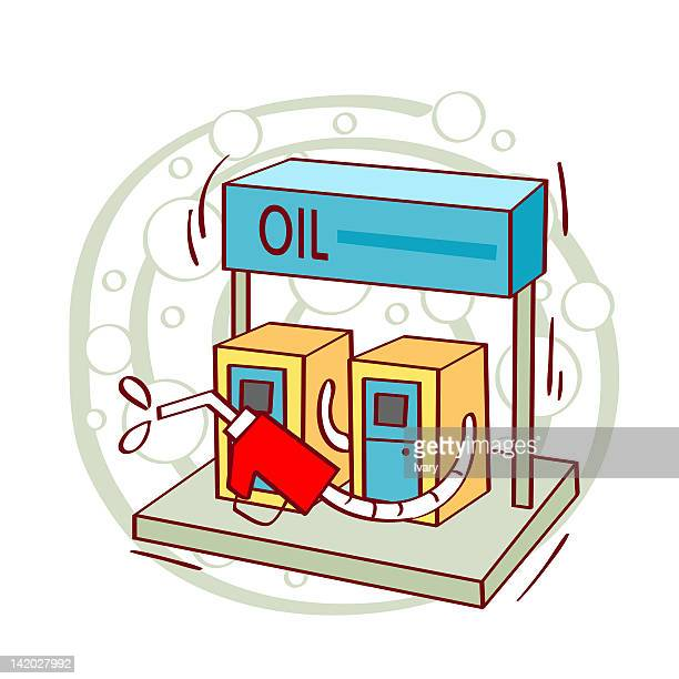 illustration of gas station - gas prices stock illustrations, clip art, cartoons, & icons