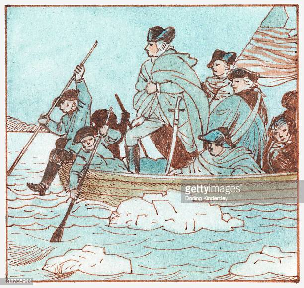 Illustration of George Washington in boat crossing the Delaware River to defeat the British at the Battle of Trenton during the American Revolution