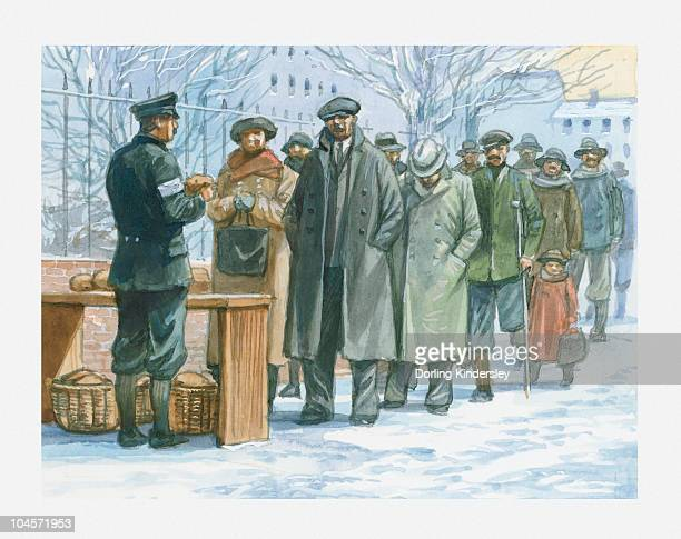 Illustration of German people queuing to collect handouts of free food in the 1930s from soldier