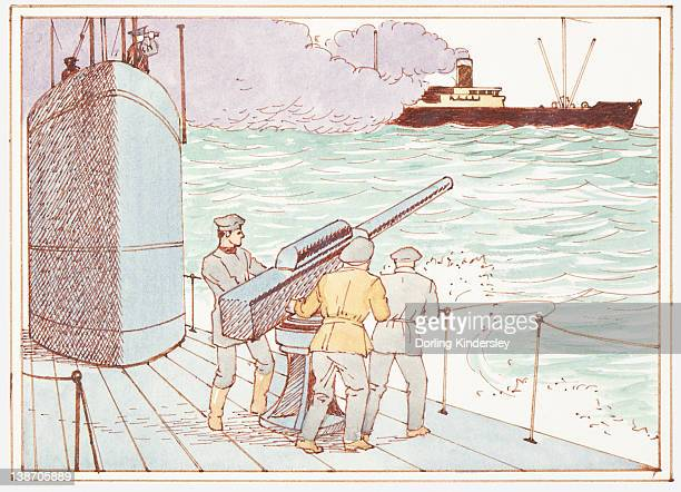 illustration of german sailors on board submarine firing weapon at american warship in the battle of the atlantic during world war ii - 第二次世界大戦 大西洋の戦い点のイラスト素材/クリップアート素材/マンガ素材/アイコン素材