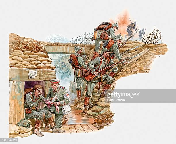 Illustration of German World War One soldiers in trench