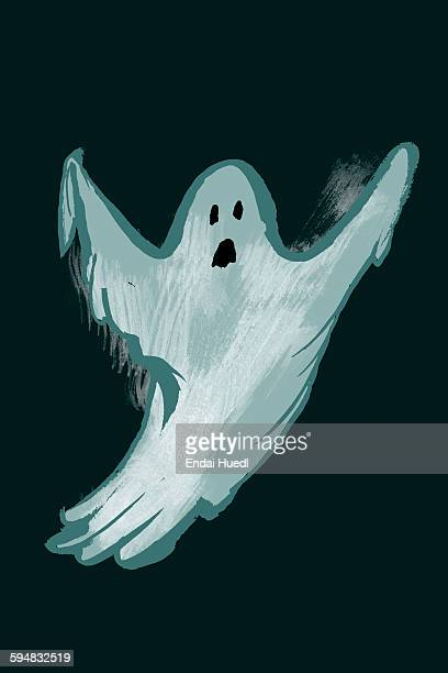 illustration of ghost against black background - spooky stock illustrations