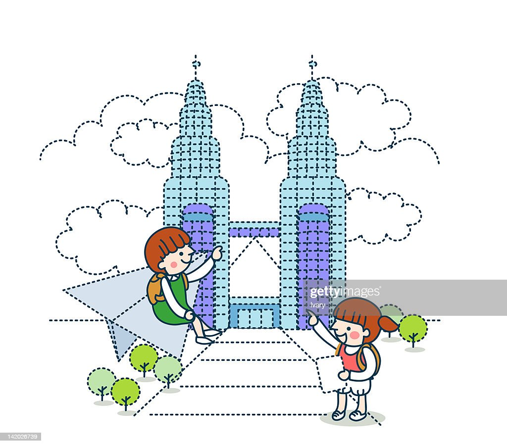 Illustration of girl on paper airplane with her friend pointing illustration of girl on paper airplane with her friend pointing against petronas tower stock illustration buycottarizona Gallery