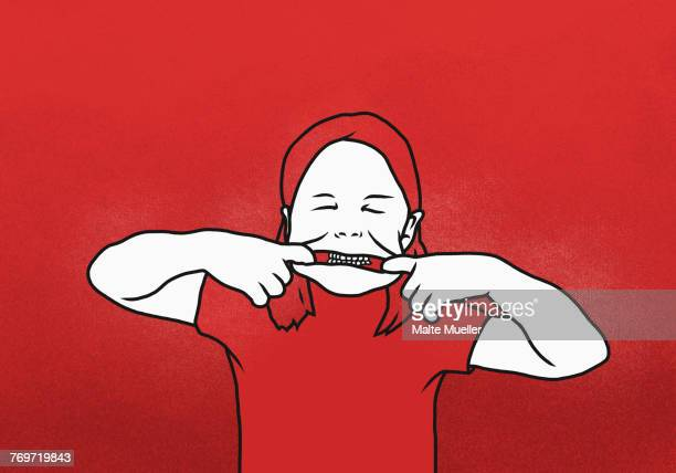 ilustraciones, imágenes clip art, dibujos animados e iconos de stock de illustration of girl pulling mouth with fingers against red background - dientes humanos