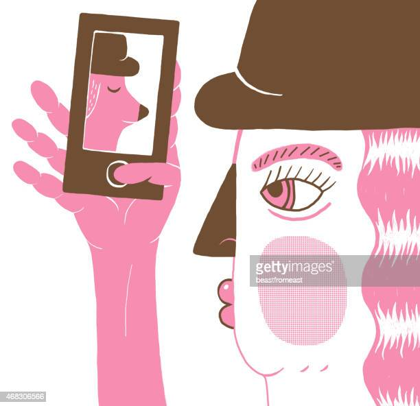 illustration of girl taking selfie on her mobile telephone