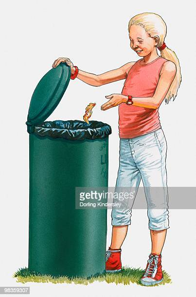 ilustraciones, imágenes clip art, dibujos animados e iconos de stock de illustration of girl throwing rubbish in bin - tirar basura