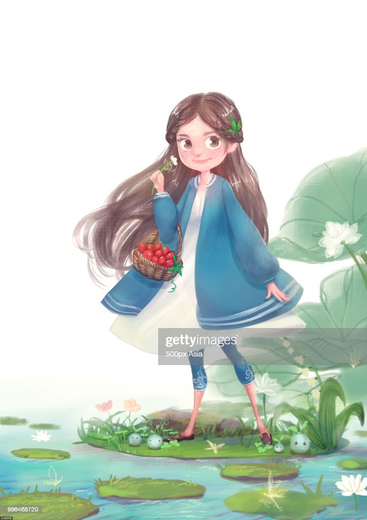 Illustration of girl walking near pond with basket of fruit : stock illustration