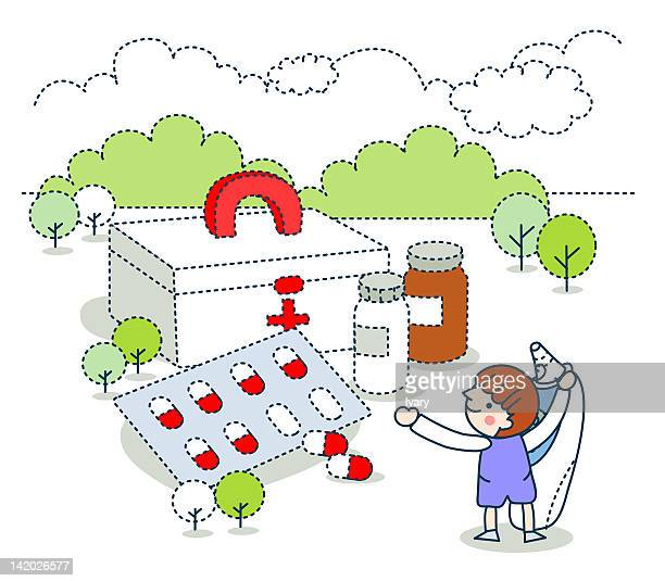 illustration of girl with first aid box - kids first aid kit stock illustrations