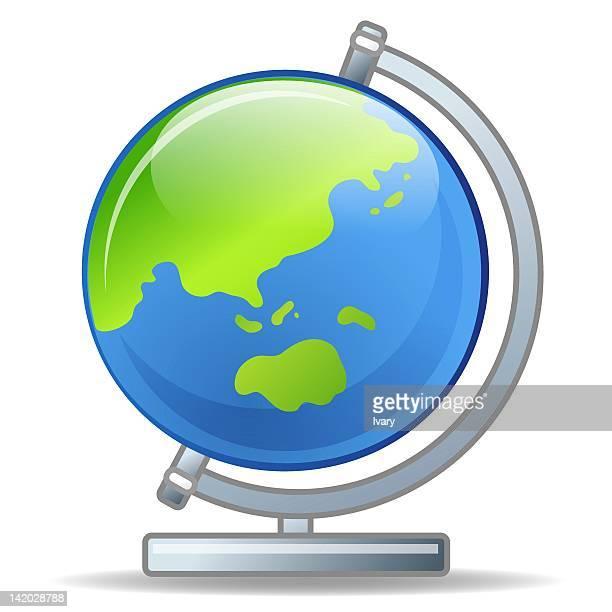 ilustraciones, imágenes clip art, dibujos animados e iconos de stock de illustration of globe against white background - gradas