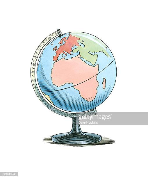 Illustration of globe showing North Pole, South Pole and Equator