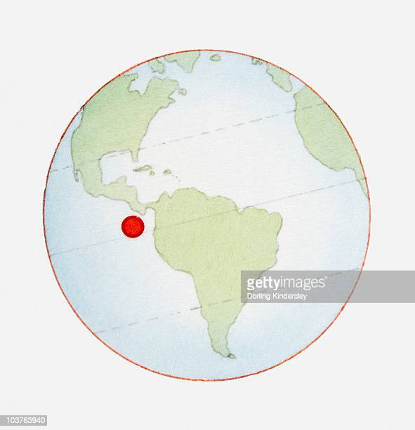 Illustration of globe showing position of Galapagos Islands highlighted in red