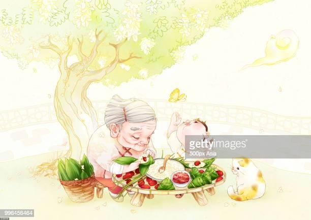 Illustration of grandmother sitting with grandson under tree and preparing zongzi dumplings