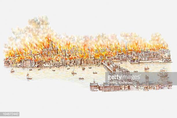 illustration of great fire of london - テムズ川点のイラスト素材/クリップアート素材/マンガ素材/アイコン素材
