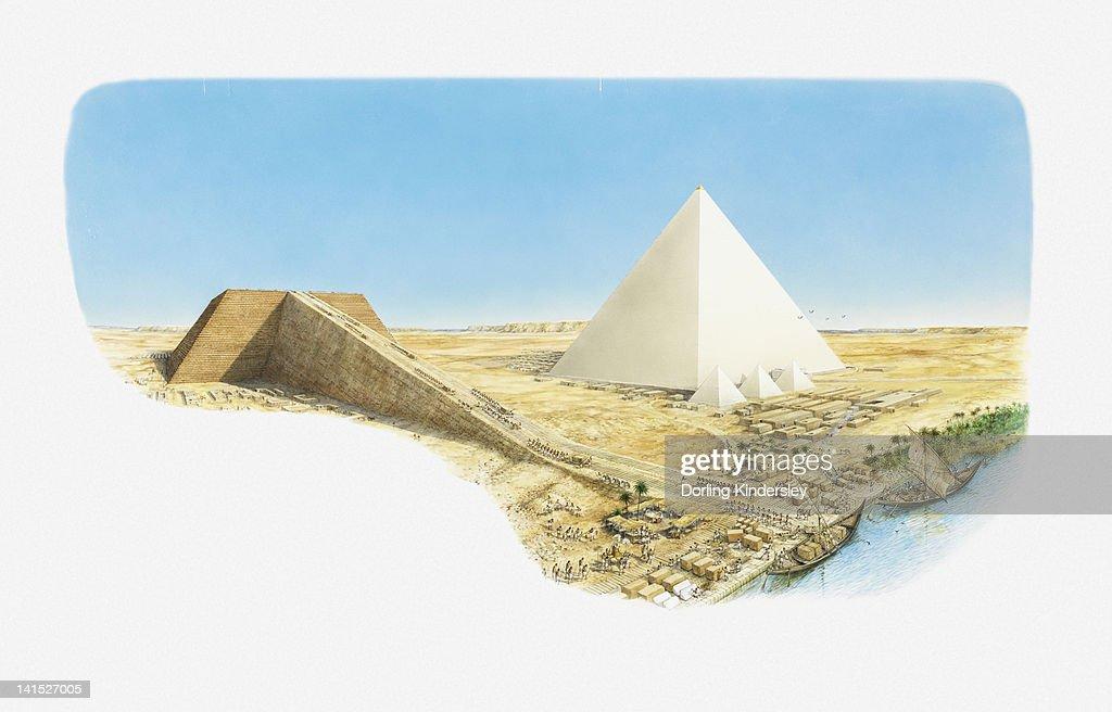 Illustration of Great Pyramid of Giza and Pyramid of Khafre (Khafra) halfway through construction : stock illustration
