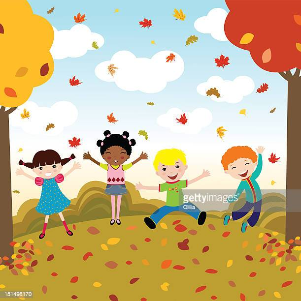 illustration of group of happy children - day stock illustrations