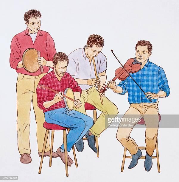 ilustrações, clipart, desenhos animados e ícones de illustration of group of irish musicians playing flute, banjo, fiddle and irish drum - arte, cultura e espetáculo