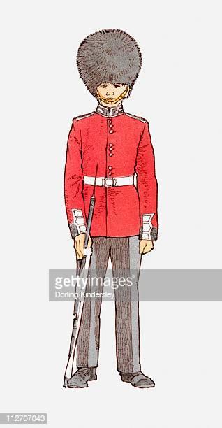 Illustration of guard wearing bearskin hat