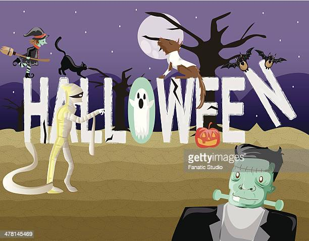 ilustraciones, imágenes clip art, dibujos animados e iconos de stock de illustration of halloween - grupo de animales