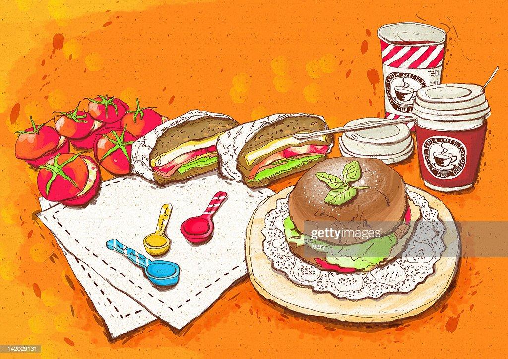 Illustration of hamburger and coffee cup : stock illustration