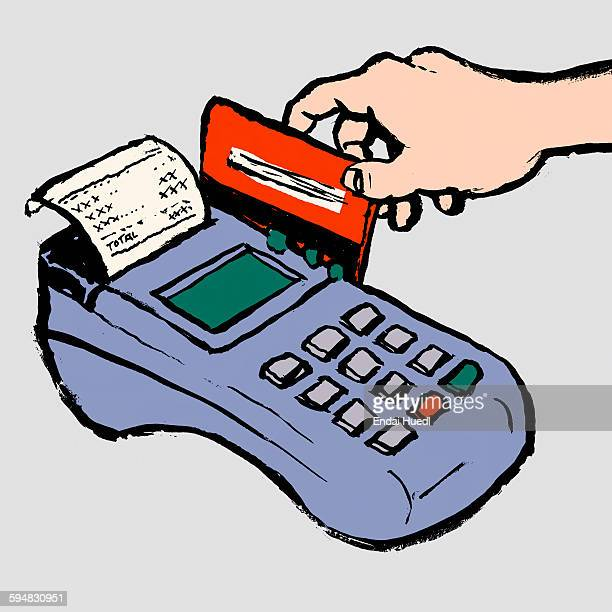 ilustraciones, imágenes clip art, dibujos animados e iconos de stock de illustration of hand swiping credit card in reader against gray background - card reader