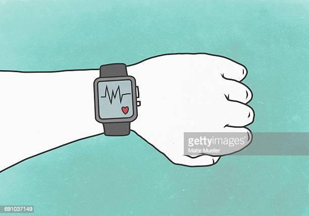 illustrations, cliparts, dessins animés et icônes de illustration of hand wearing smart watch with pulse trace representing healthy lifestyle - mode de vie sain