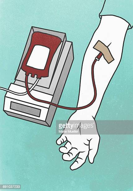 illustration of hand with syringe representing blood donation - blood bag stock illustrations, clip art, cartoons, & icons