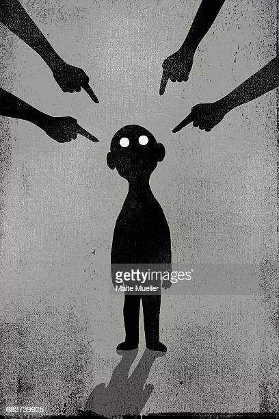Illustration of hands pointing at boy