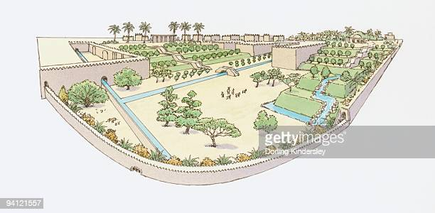 illustrations, cliparts, dessins animés et icônes de illustration of hanging gardens of babylon, one of the seven wonders of the world - hanging gardens of babylon