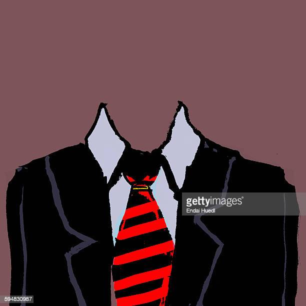 Illustration of headless businessman against brown background