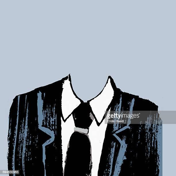 illustration of headless businessman against gray background - stranger stock illustrations