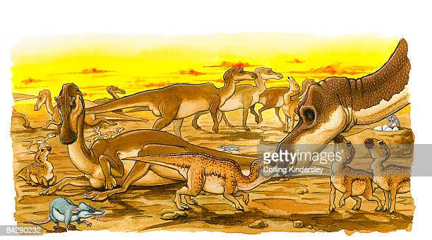 illustration of herd of adult and young hypsilophodon dinosaurs, with prehistoric rats scavenging for eggs on ground and in nest - mammal stock illustrations, clip art, cartoons, & icons