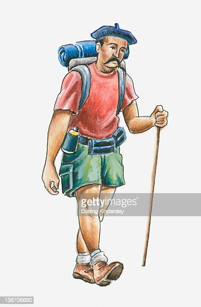 illustration of hiker in the pays basque, france - en búsqueda stock illustrations