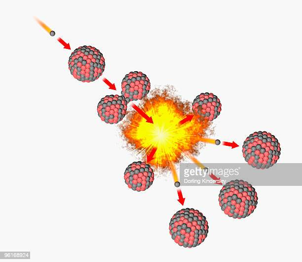 illustration of how fission works, uranium 235 nucleus splitting into fragments and creating new nuc - uranium stock illustrations